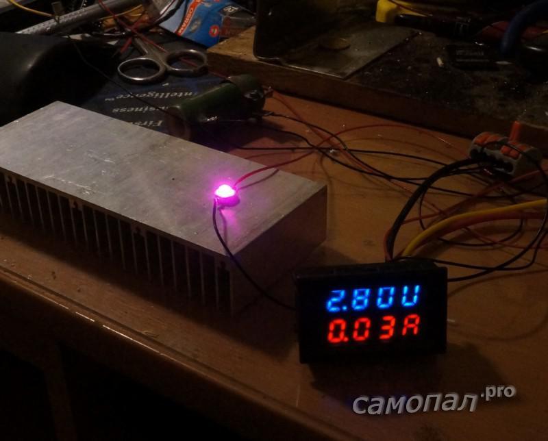 Тестирование светодиода с полным спектром