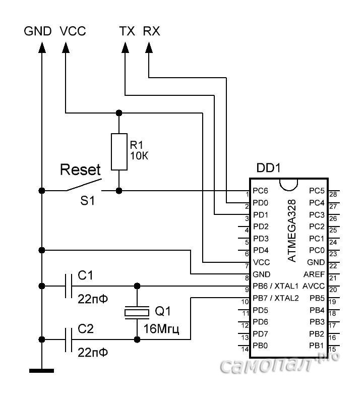 Самодельный Arduino из контроллера ATMEGA328P-PU. Схема