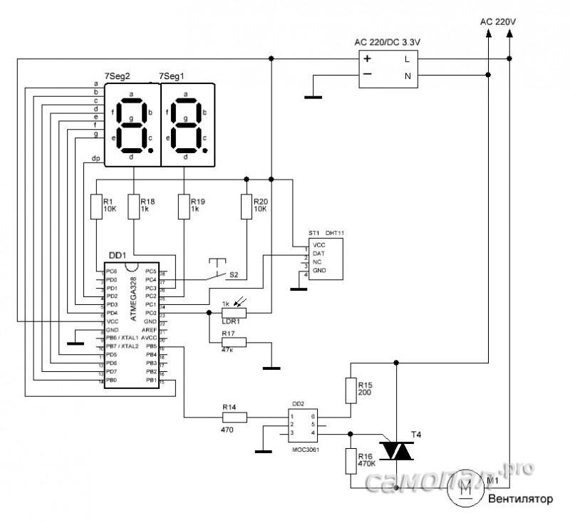 Схема контроллера управления влажностью