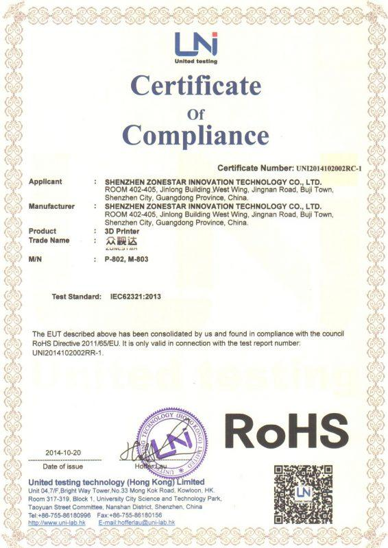 zonestar-p802-rohs-certification