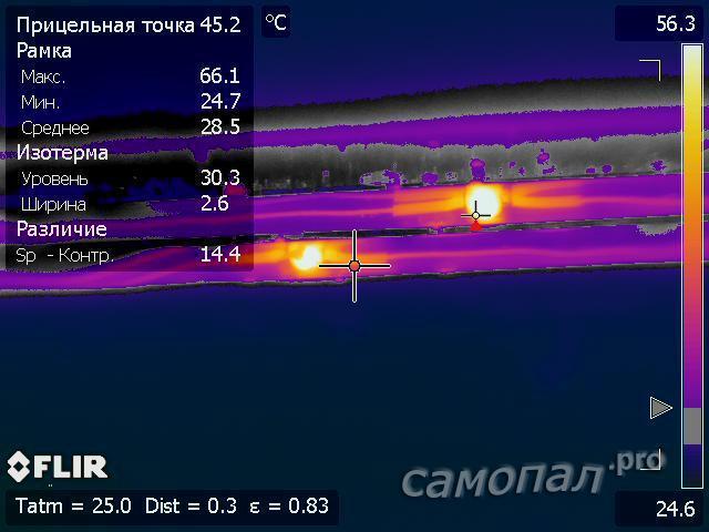 Исследование самодельных светильников тепловизором. Подсветка раковины