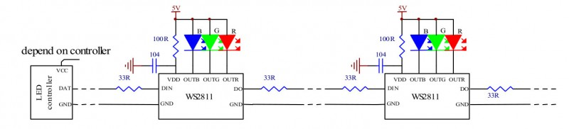 WS2811 с одним светодиодом на канал