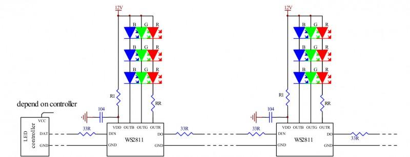 Схема WS2811 с тремя светодиодами на канал