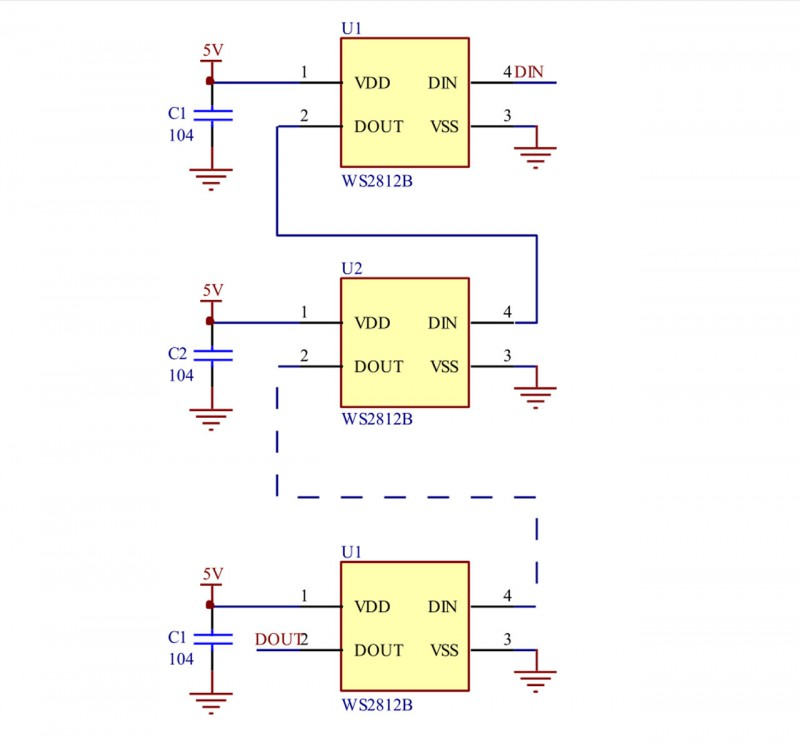 Схема соединения WS2812B