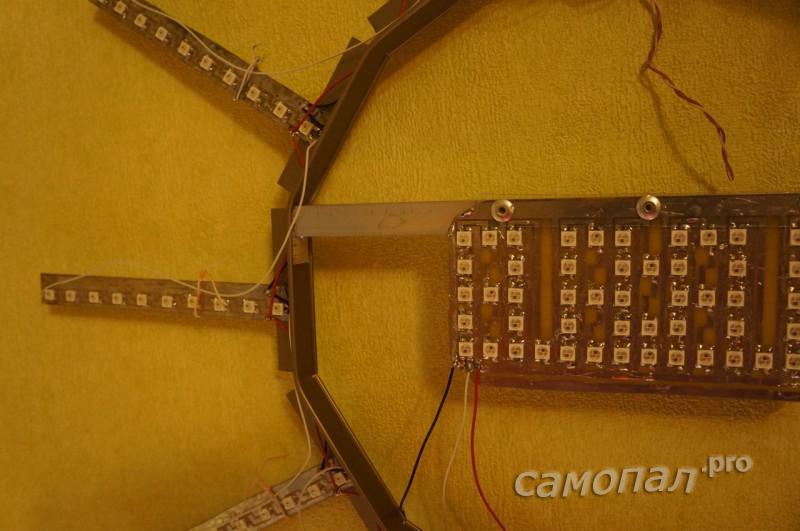 Конструкция цифро-аналоговых часов еа WS2812B